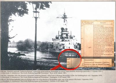 Schleswig-Holstein, dziennik okrętowy z 1 września 1939 r.