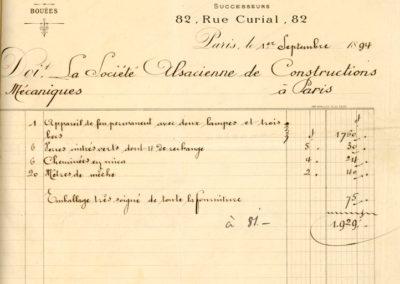 Rachunek francuskiej firmy Barbier & Fenestre zasoczewkę optyczną typu Fresnela wykonaną w1894 roku nazamówienie władz portowych Gdańska dla nowej wtedy latarni wNowym Porcie.